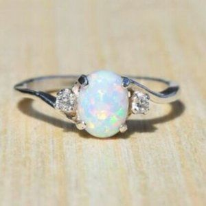 2.3Ct Opal Women's Stainless Steel Ring Size: 11